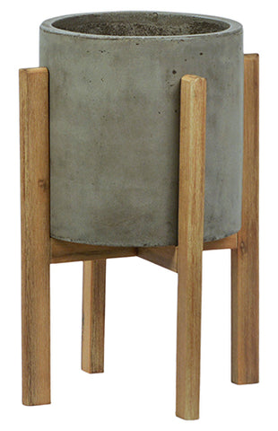 Concrete Planter On Wood Stand