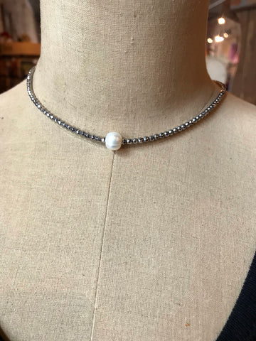 Sm Hematite W/Pearl Necklace