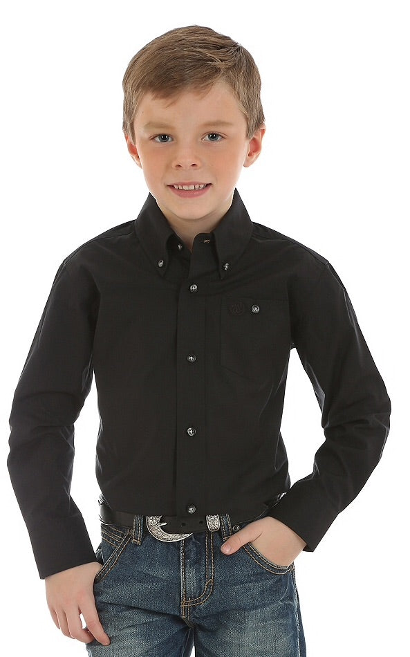 Boy's Classic Button Down Black Shirt