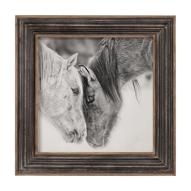 Custom Black And White Horses Painting