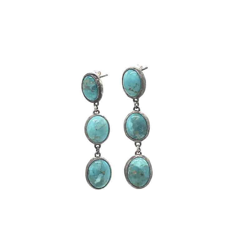 Triple Kingman Turquoise Duster Earring