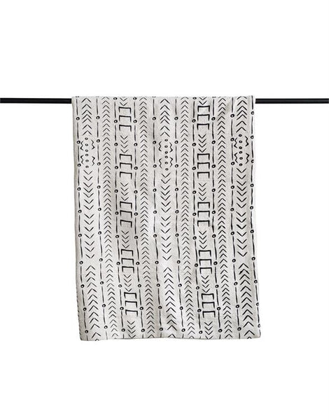 Mudcloth Pattern Cotton Throw