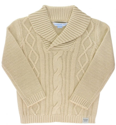 Cable Knit Shawl Collar Sweater