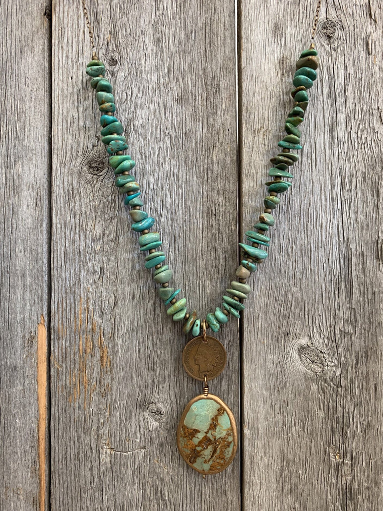 Kingman Indian Penny Necklace