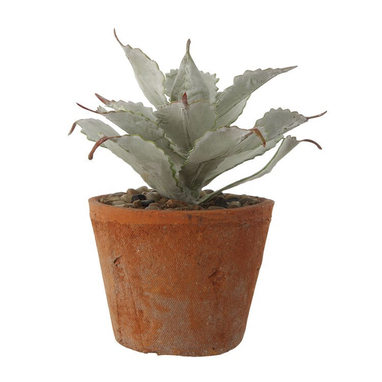 "8.50"" Faux Succulent In Cement Pot"