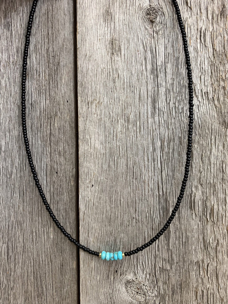 Blk Seed W/Trqz Center Necklace