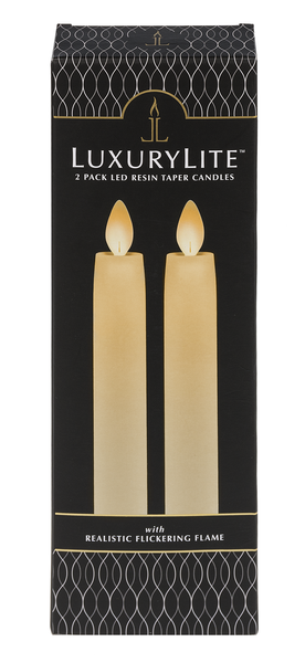2Pc Resin Led Taper Candle