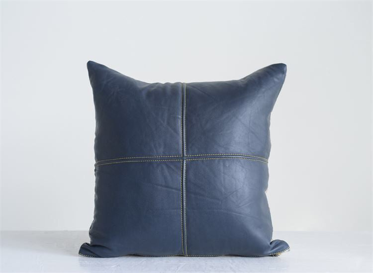 Navy Leather Pillow