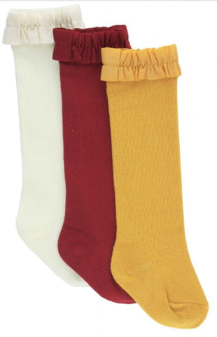 Ivory Cranberry Yellow Socks