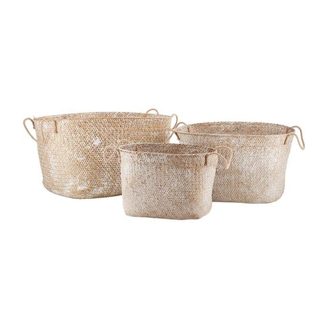 White Wash Seagrass Basket Set