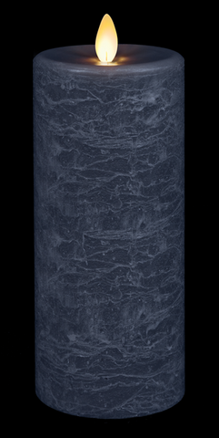 Blue Led Textured Wax Pillar Candle