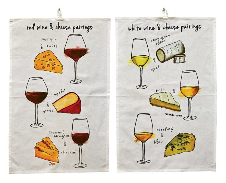 Cotton Tea Towel W/Wine Pairings