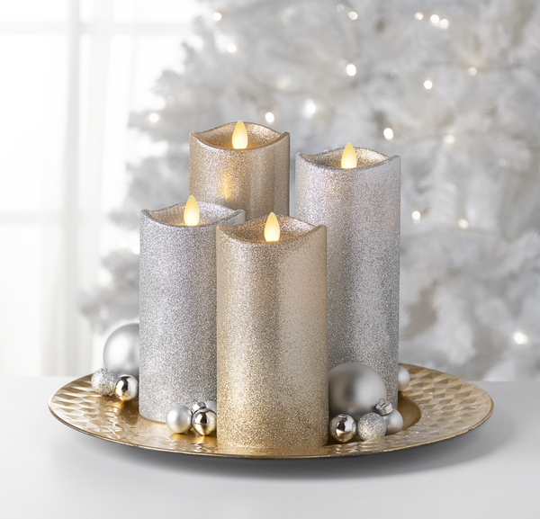 Wax Led Glitter Pillar Candle