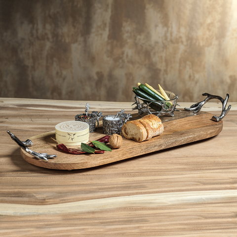 Wood Oval Tray Antler Handles