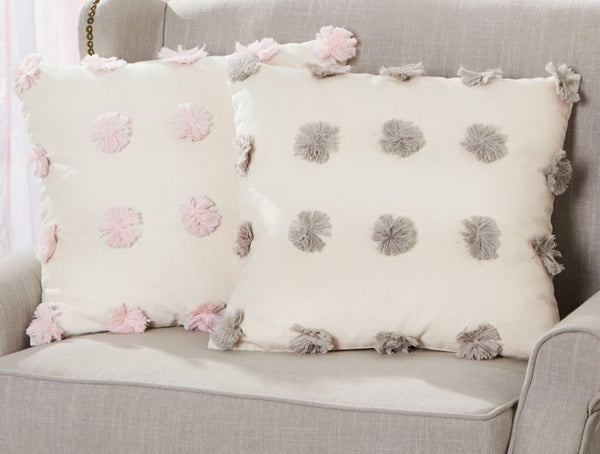 Gray Pom Pom Pillow
