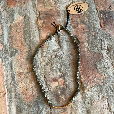Pyrite Nugget Bar Necklace