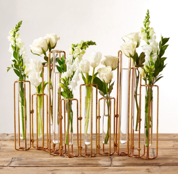 Rust Hinged Flower Vases