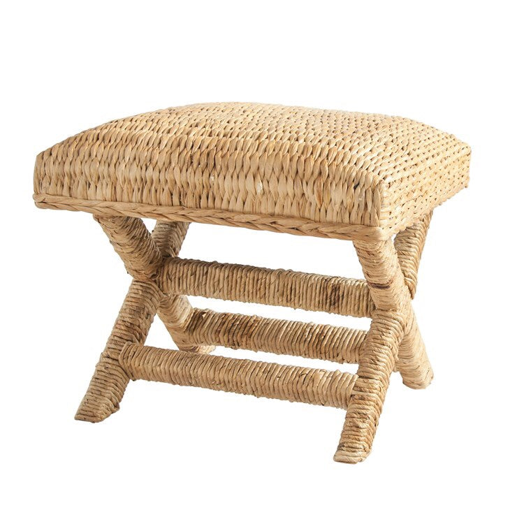 Woven Water Hyacinth/Wood Stool