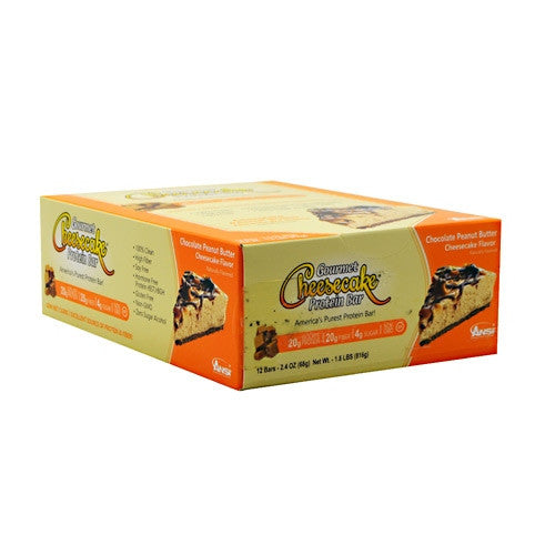 Advanced Nutrient Science INTL Gourmet Cheesecake Protein Bar - Chocolate Peanut Butter Cheesecake Flavor - 12 Bars - 689570408081