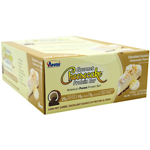 Advanced Nutrient Science INTL Gourmet Cheesecake Protein Bar - Chocolate Coconut Cheesecake - 12 Bars - 689570408203