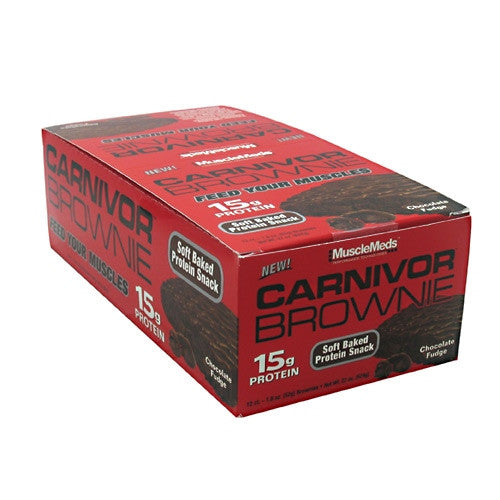 Muscle Meds Carnivor Brownie - Chocolate Fudge - 12 ea - 891597004133