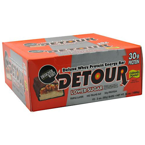 Forward Foods Detour Low Sugar Deluxe Whey Protein Energy Bar - Caramel Peanut - 12 Bars - 733913005878