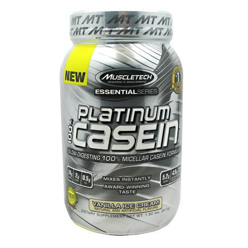 MuscleTech Essential Series 100% Platinum Casein - Vanilla Ice Cream - 1.8 lb - 631656705348