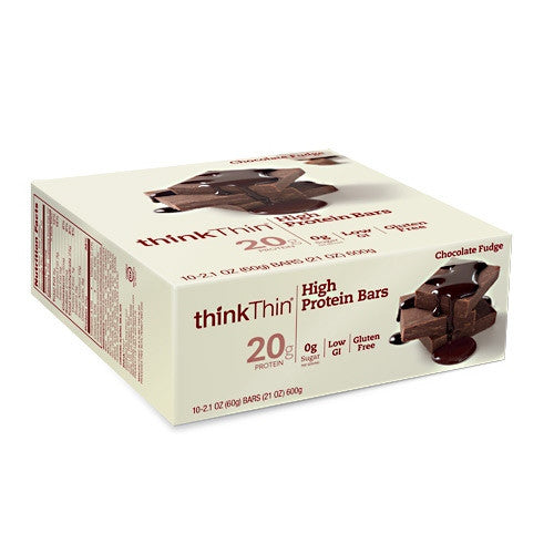 Think Products Think Thin Bar - Chocolate Fudge - 10 Bars - 753656701417