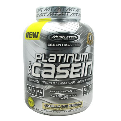 MuscleTech Essential Series 100% Platinum Casein - Vanilla Ice Cream - 3.66 lb - 631656705379
