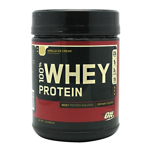 Optimum Nutrition 100% Whey Protein - Vanilla Ice Cream - 1 lb - 748927022414