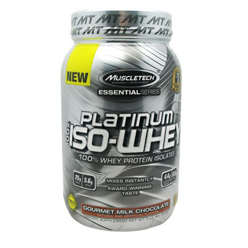MuscleTech Essential Series 100% Platinum Iso-Whey - Gourmet Milk Chocolate - 1.79 lb - 631656705430