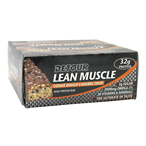 Forward Foods Detour Lean Muscle Whey Protein Bar - Cookie Dough Caramel Crisp - 12 Bars - 733913008756