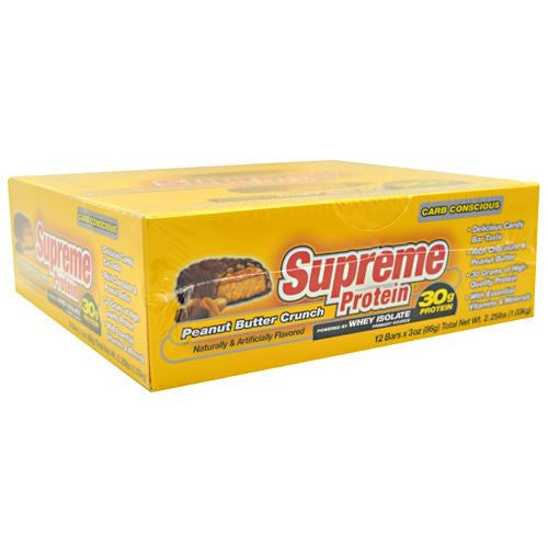 Supreme Protein Carb Conscious Quadruple Layer Protein Bar - Peanut Butter Crunch - 12 Bars - 639372021216
