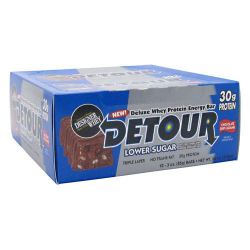 Forward Foods Detour Low Sugar Deluxe Whey Protein Energy Bar - Chocolate Chip Caramel - 12 Bars - 733913008787