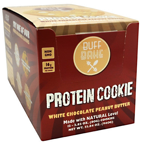 Buff Bake Protein Cookie - White Chocolate Peanut Butter - 12 ea - 857697005555