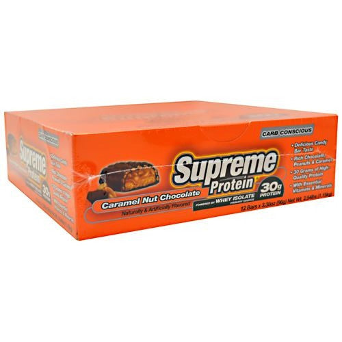 Supreme Protein Carb Conscious Quadruple Layer Protein Bar - Caramel Nut Chocolate - 12 Bars - 639372020202