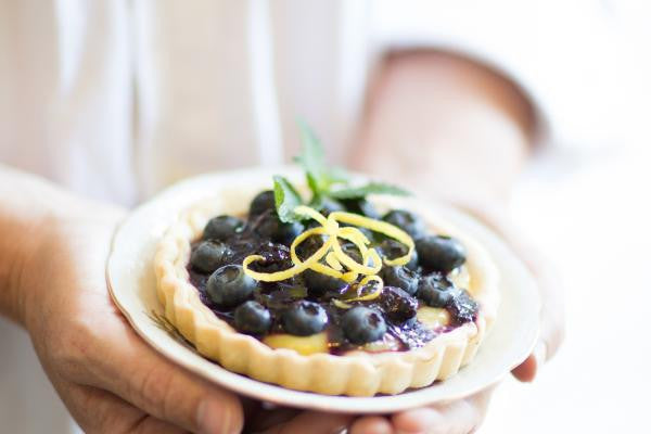 Lemon Curd Tarts Drizzled with Blackberry Patch Blueberry Syrup