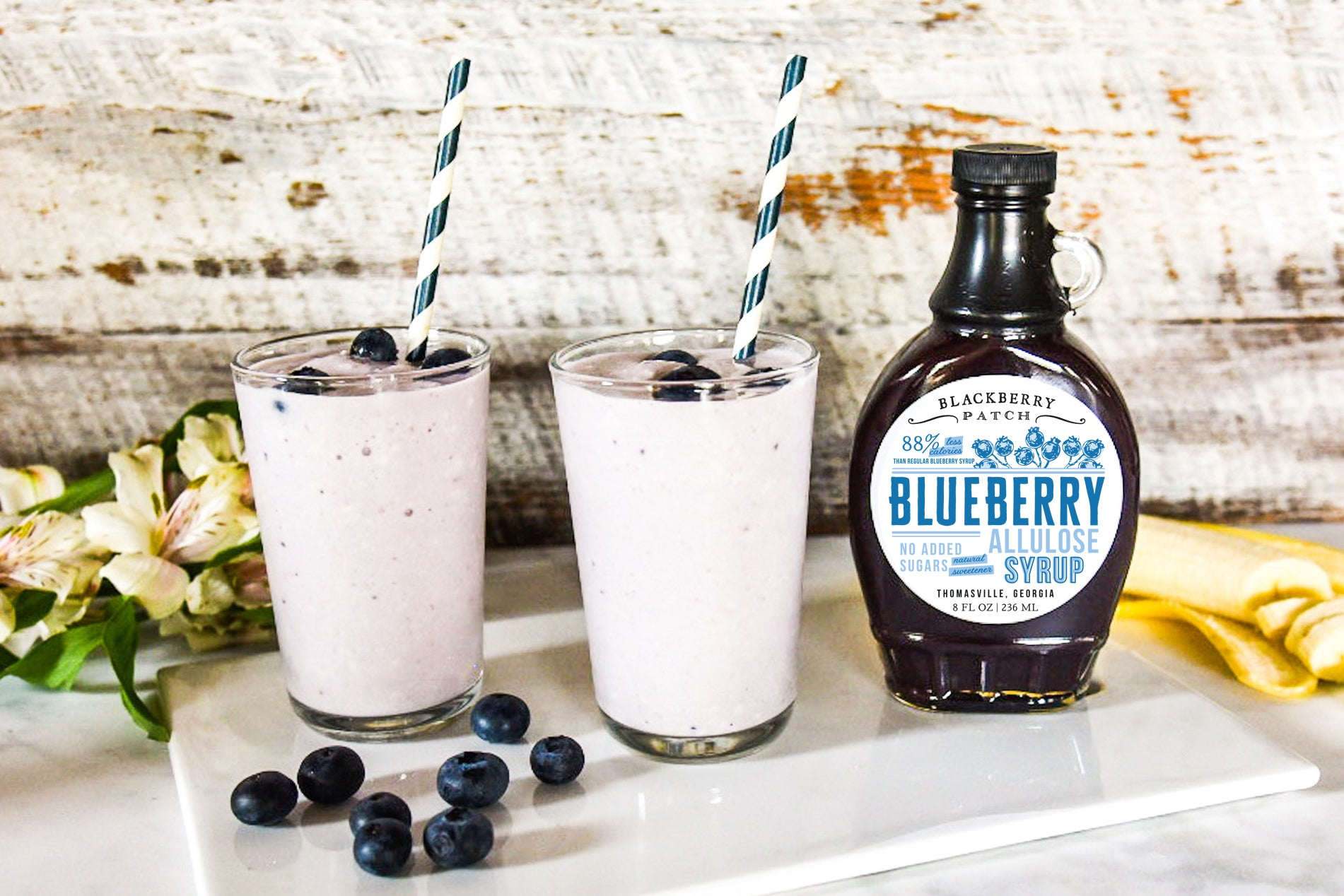 Recipe photo of Blueberry Banana Smoothie using Blackberry Patch Blueberry Allulose Syrup