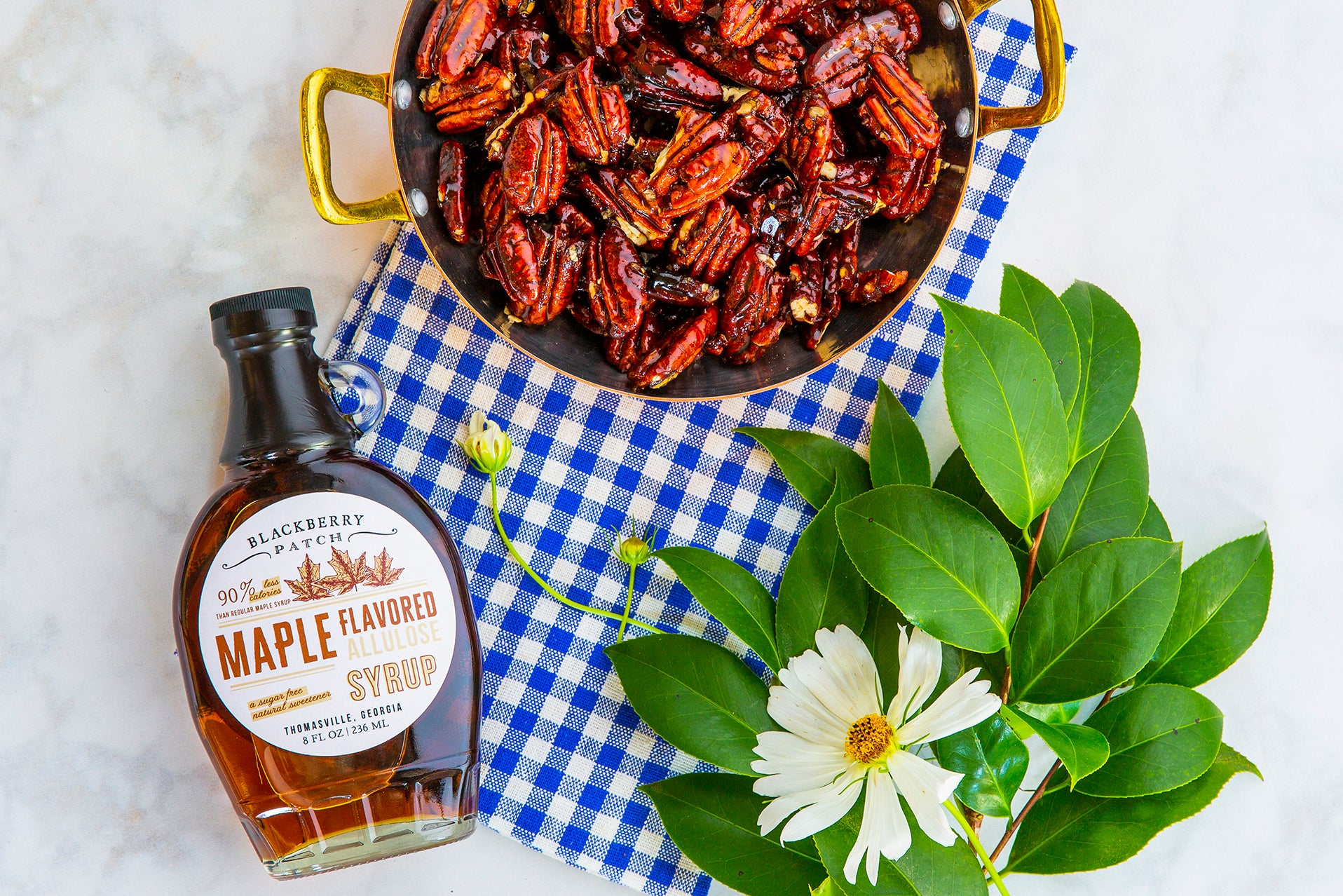 Recipe photo of Sugar Free Maple Candied Pecans using Blackberry Patch Maple Flavored Allulose Syrup
