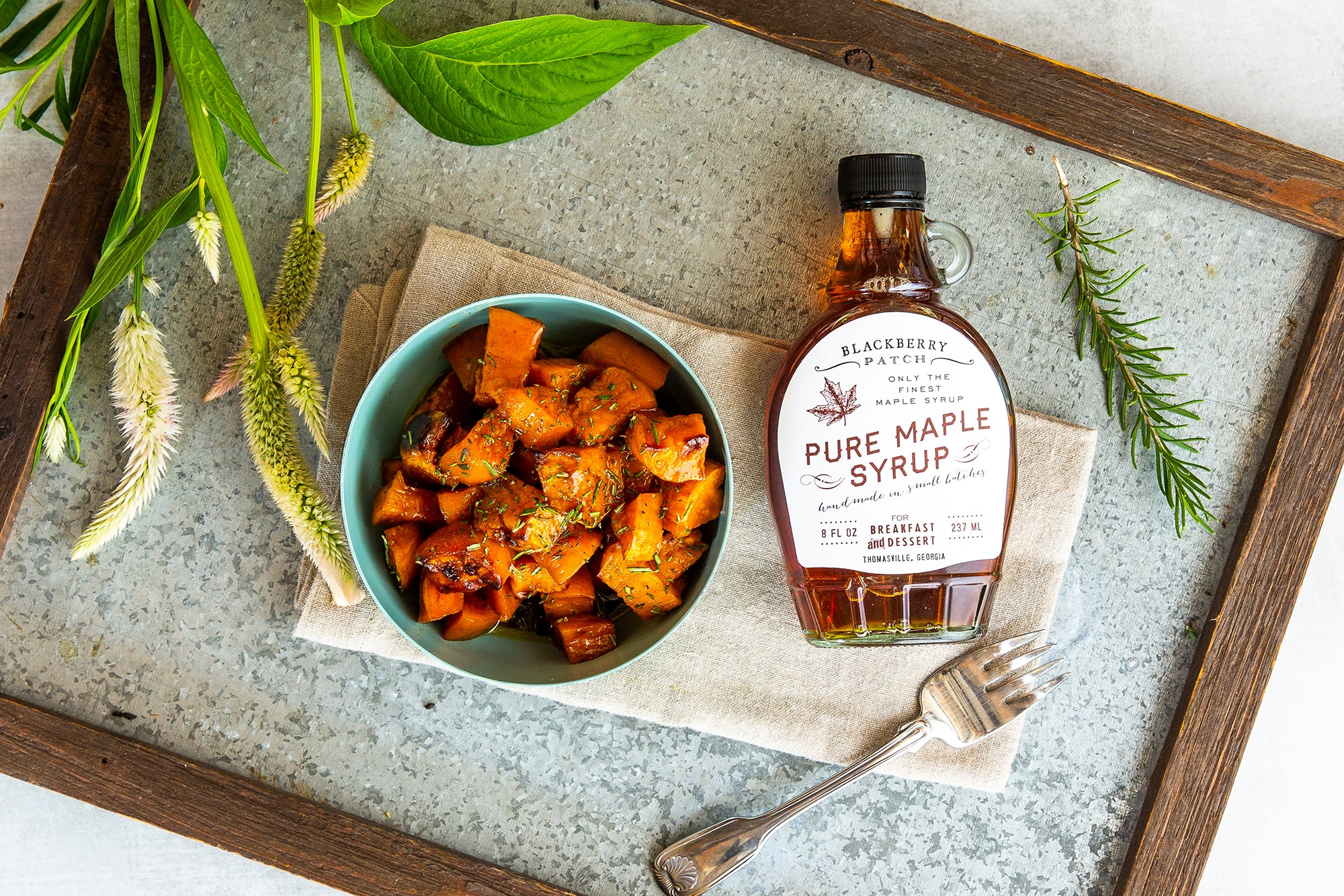 Recipe photo of Maple Glazed Sweet Potatoes using Blackberry Patch Pure Maple Syrup