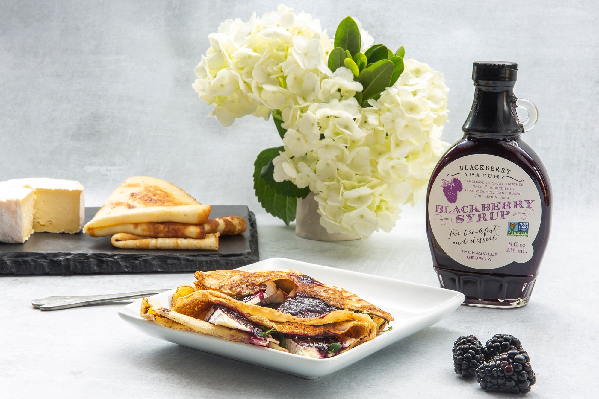 Recipe photo of Blueberry and Camembert Crepe using Blackberry Patch Premium Blackberry Syrup