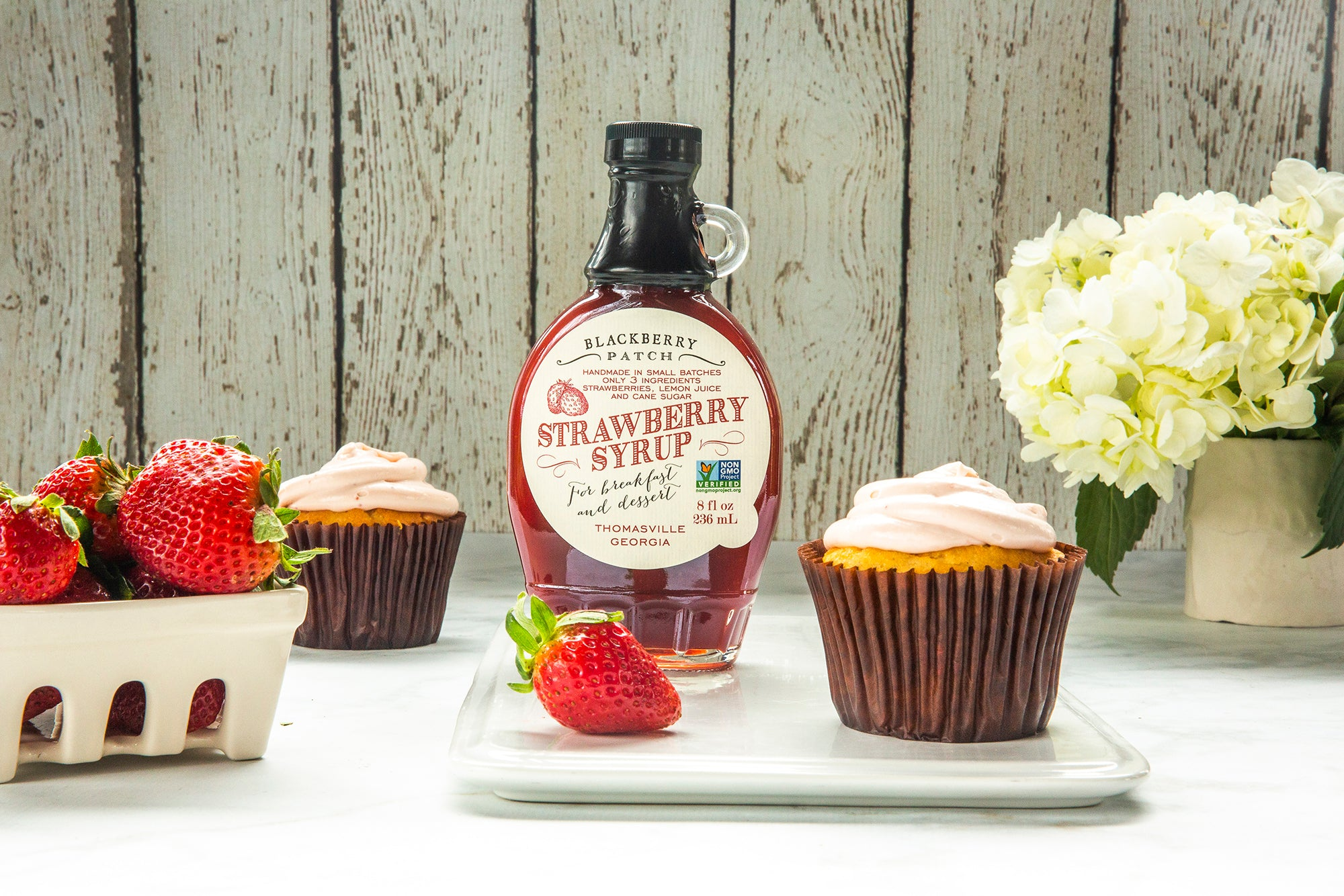 Recipe photo of Strawberry Cream Cheese Frosting using Blackberry Patch Premium Strawberry Syrup