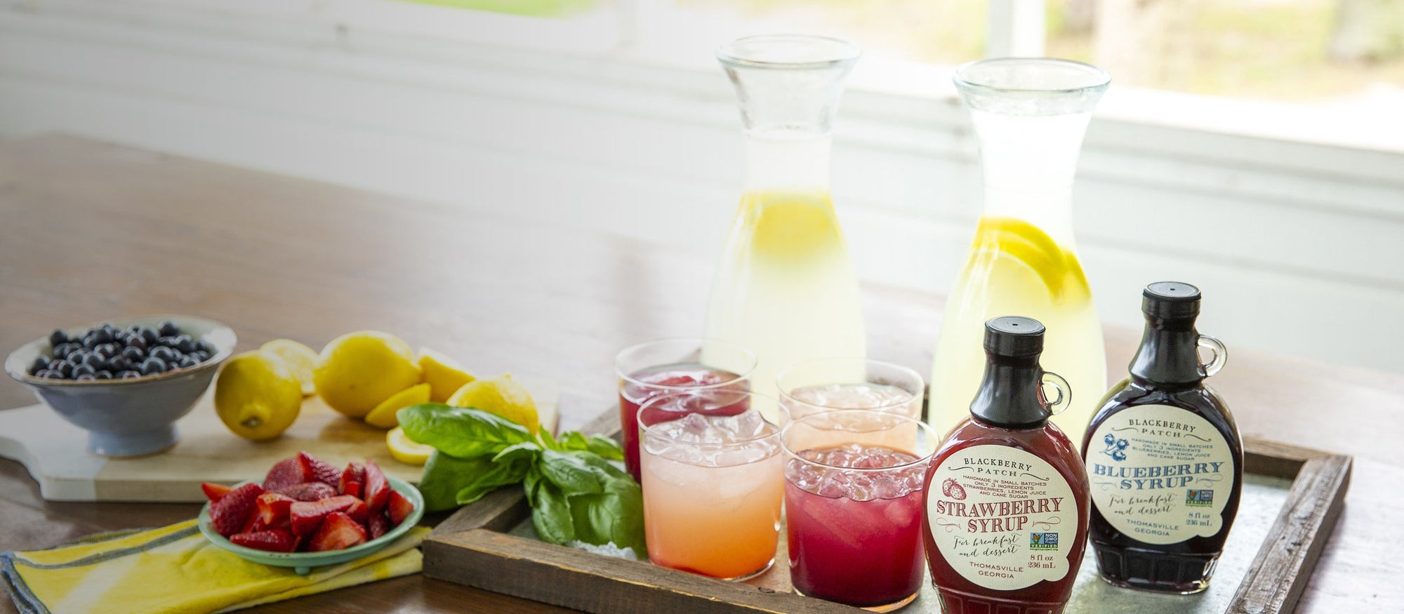 Lemonade using strawberry and blueberry 3 ingredient syrups