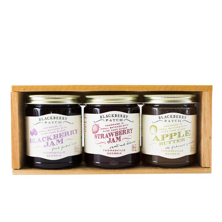 3 10oz jars of Blackberry Patch Preserves in a wooden gift crate.