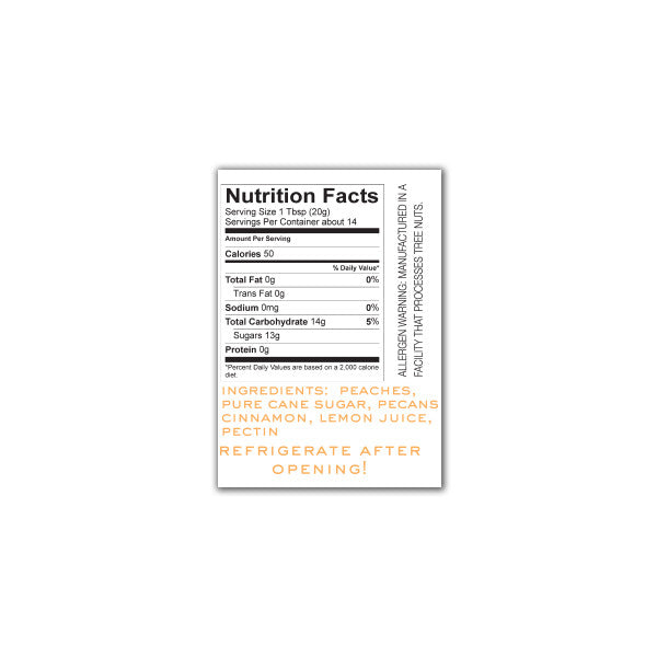 Peach Pecan Preserves Nutrition Facts. Ingredients: peaches, pure cane sugar, pecans, cinnamon, lemon juice, pectin.