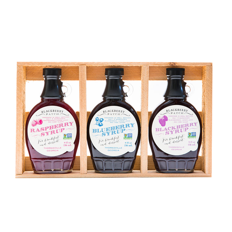 3 8oz jars of Blackbery Patch Premium Syrups in wooden gift crate.
