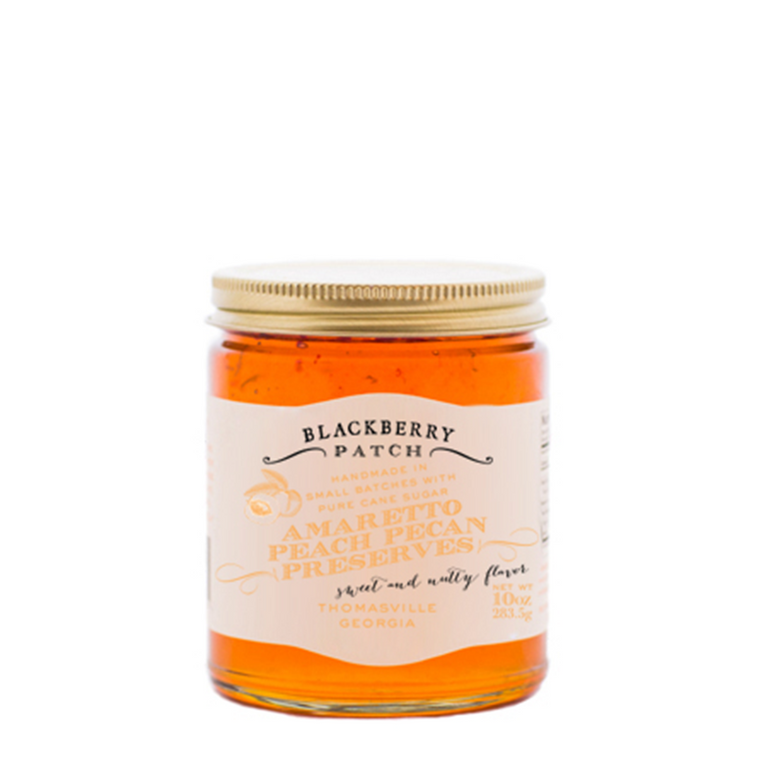 Our Amaretto Peach Pecan Preserves are handmade in small batches. We use only the freshest ingredients to create our preserves. Try on your morning toast. 10 oz