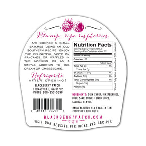 Raspberry Syrup Nutrition Facts. Ingredients: corn syrup, raspberries, pure cane sugar, lemon juice, natural flavor.