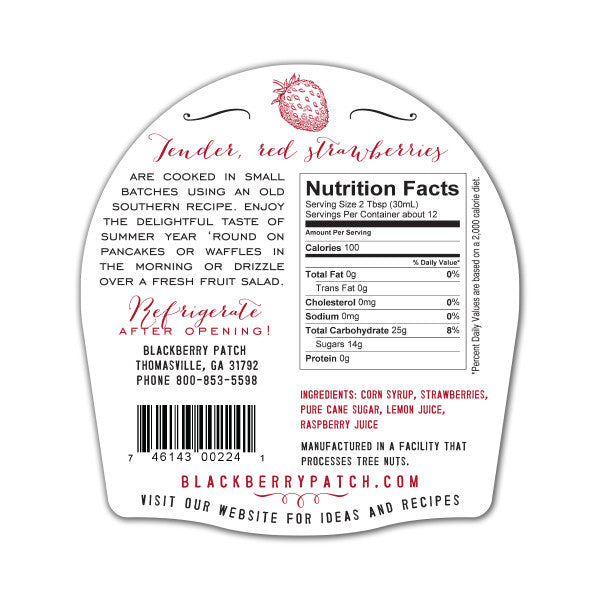 Strawberry Syrup Nutrition Facts. Ingredients: corn syrup, strawberries, pure cane sugar, lemon juice, raspberry juice.