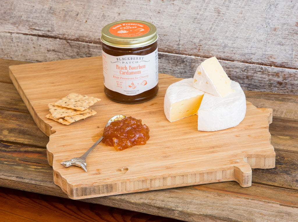 Photo of Peach Bourbon Cardamom Fruit Preserves for Cheese paired with a soft cheese like brie.